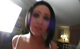 Sassy brunette does a twerking lapdance
