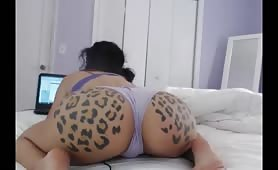 sexy latina big ass cam model stripping and riding dildo twerk porn is great!